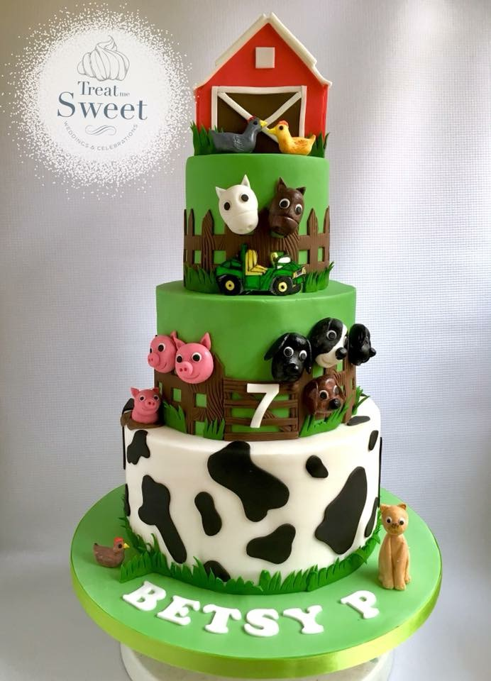 Tiered Farm Yard cake with animal figures and Barn - Treat me Sweet