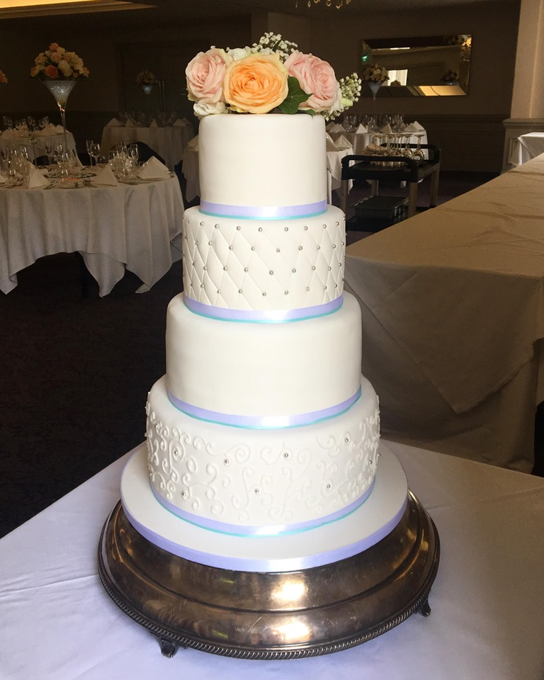4 Tier White/Silver/Mint Green Wedding Cake