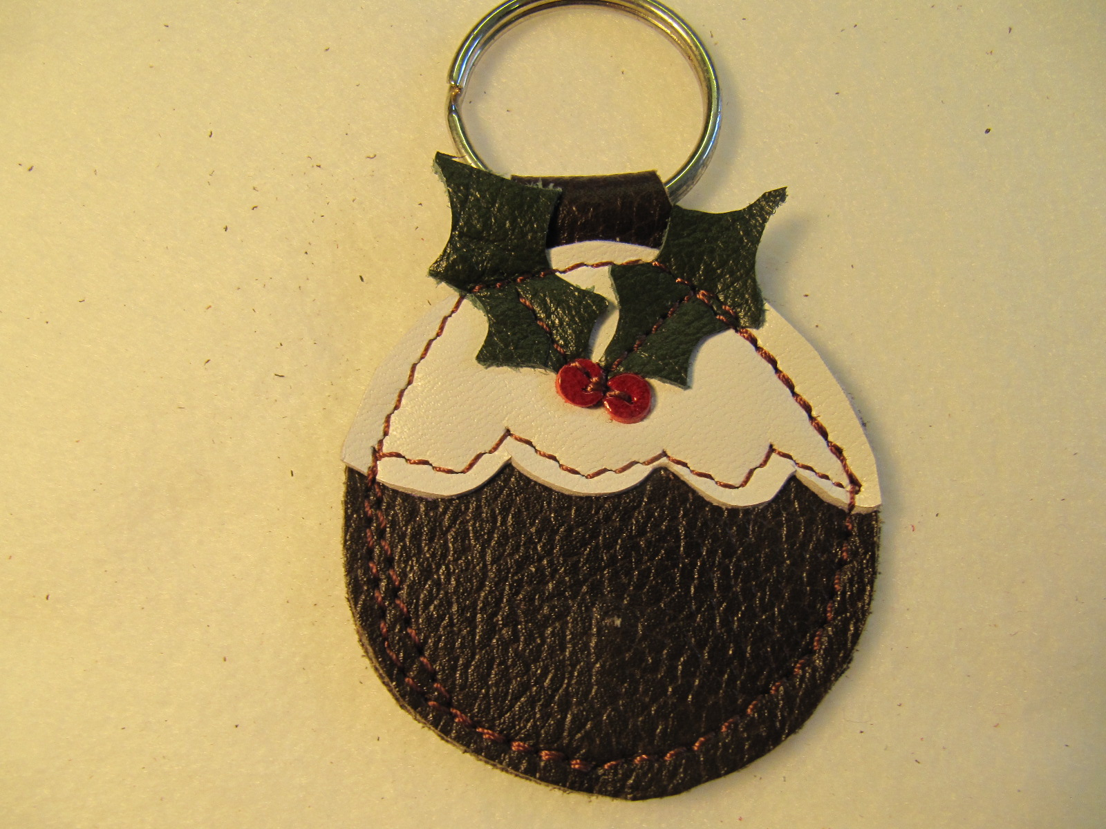 Christmas Pudding leather key fob