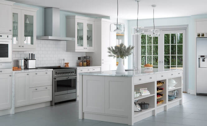 Florence Painted Light Grey, Cedarwood Kitchens, Bedrooms & Home Interiors