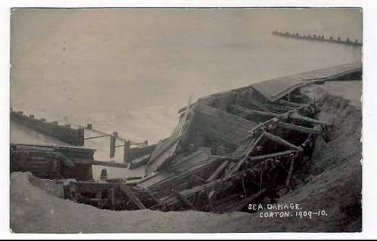 Damage to Corton Sea Wall