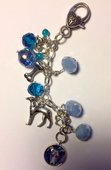 Dog bag charm with blue beads