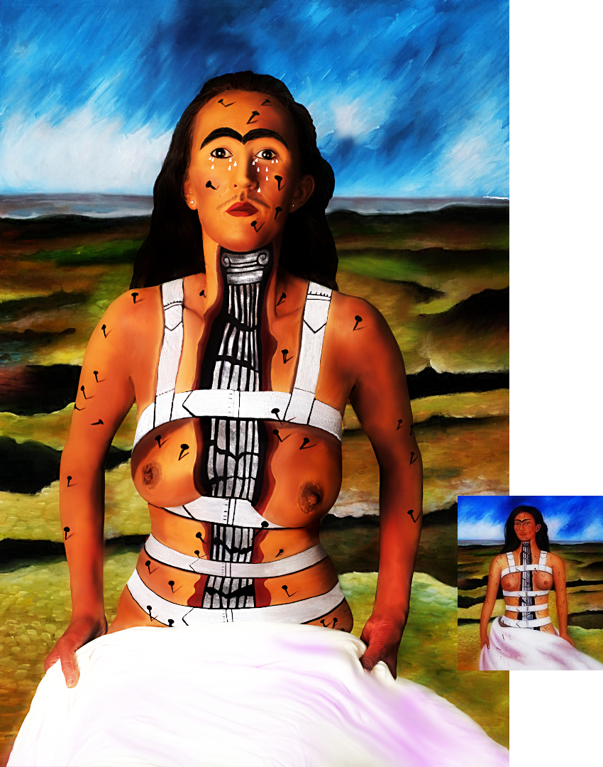Body painting, after Frida Khalo's 'Broken Column'
