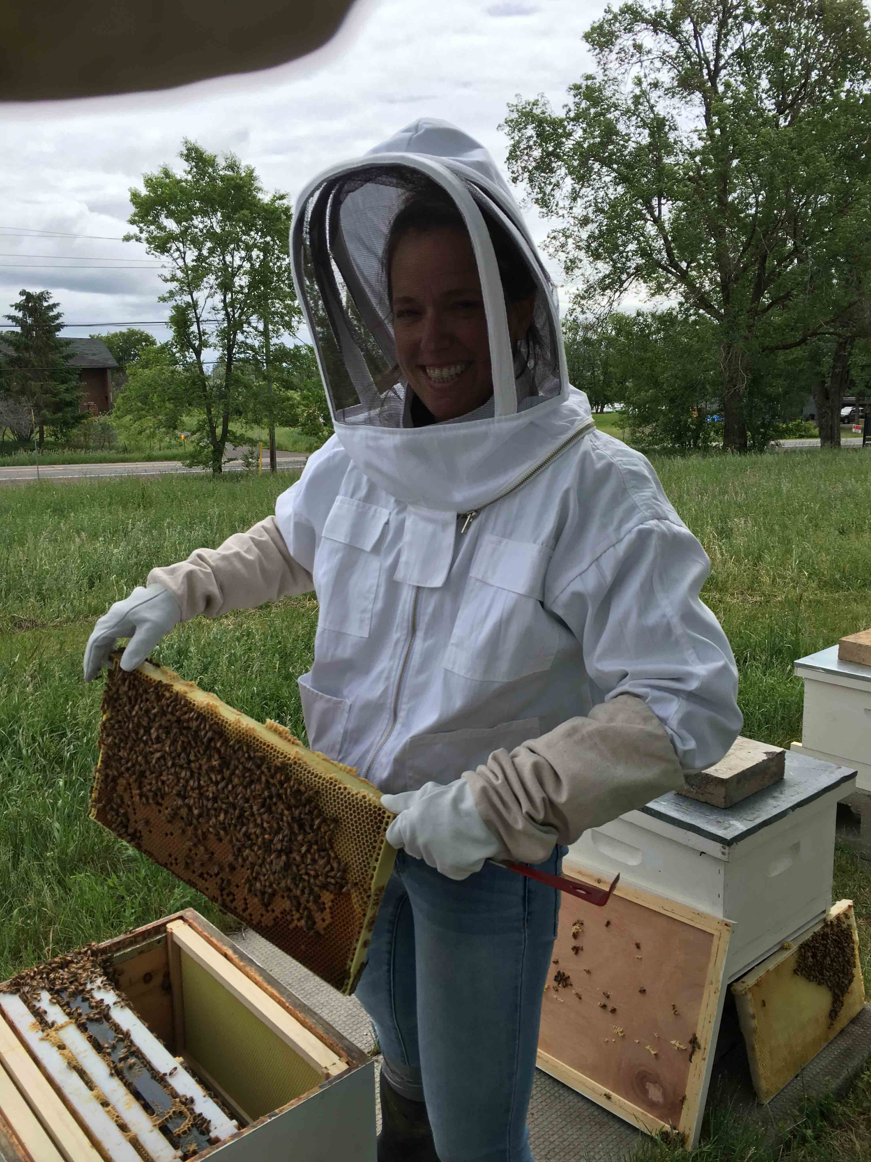 Sarah with the bees