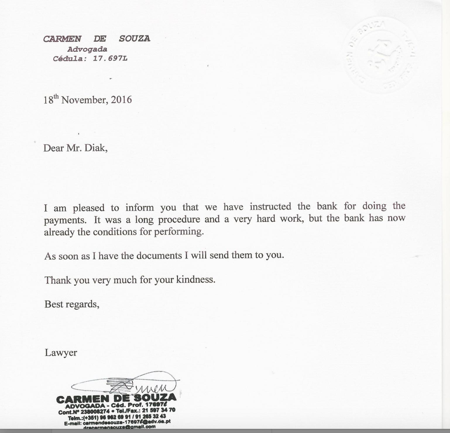 Fraude Na Indução   Carmen De Souza   Lawyers In Lisbon  Good Faith Payment Letter