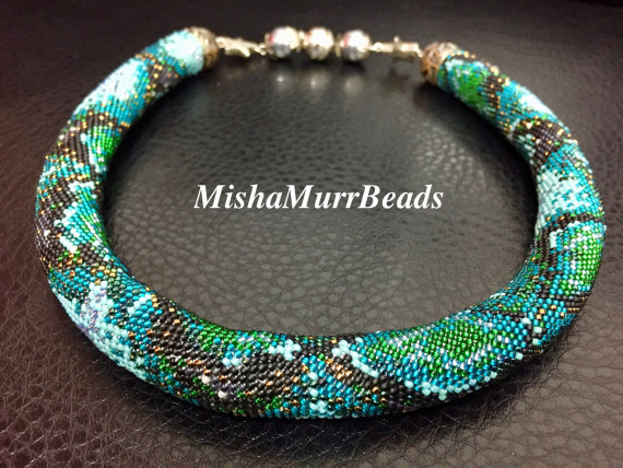 Turquoise Python Beaded Necklace