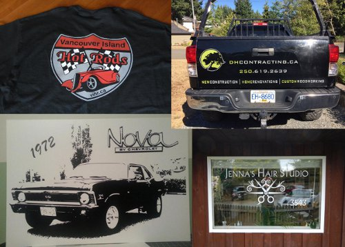 Vehicl graphics custom shirt store front sign and wall mural vinyl decals