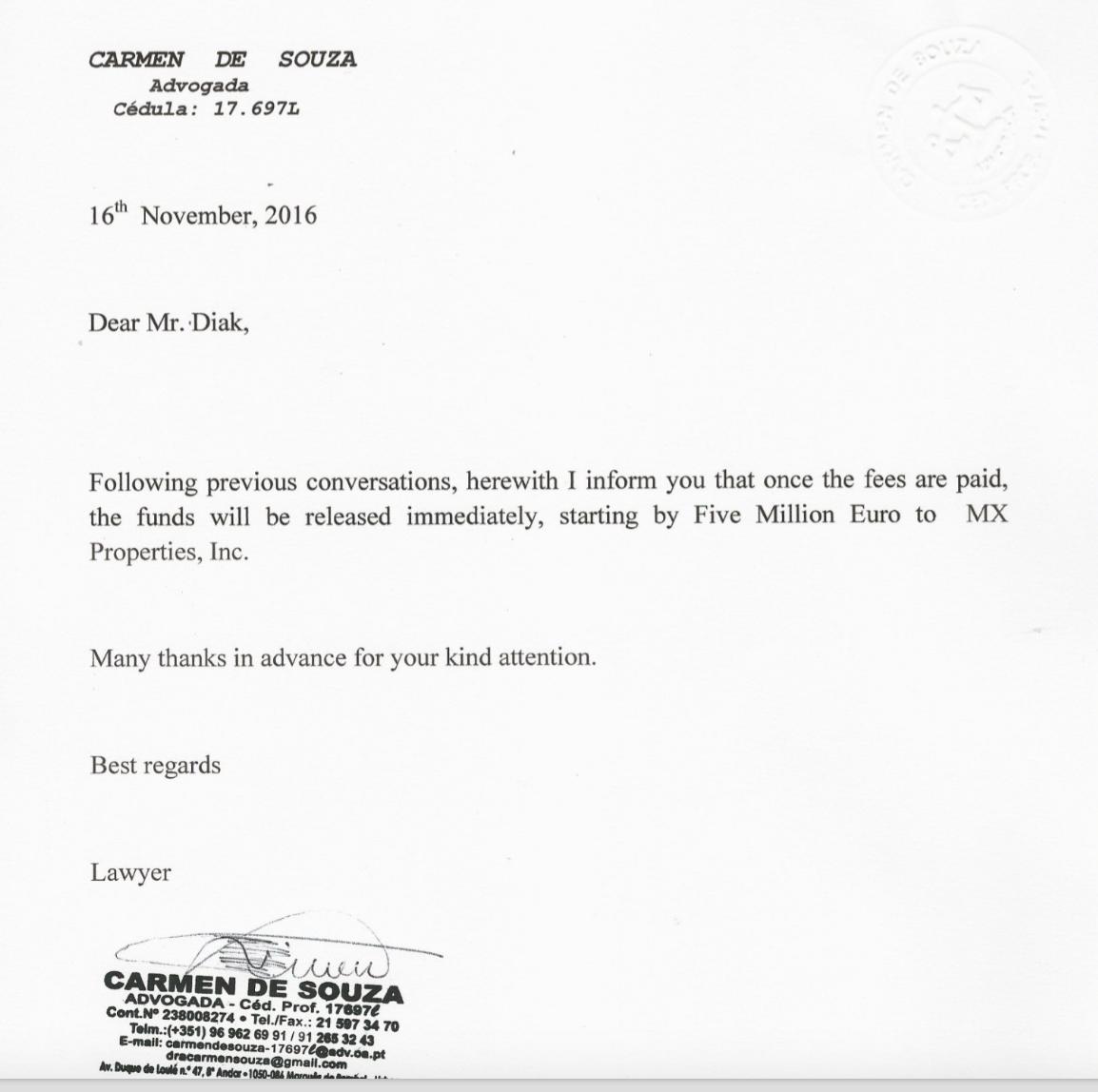 Unfair Business Practices   Carmen De Souza   Lawyers In Lisbon   Lisbon  Portugal  Letter Of Good Faith