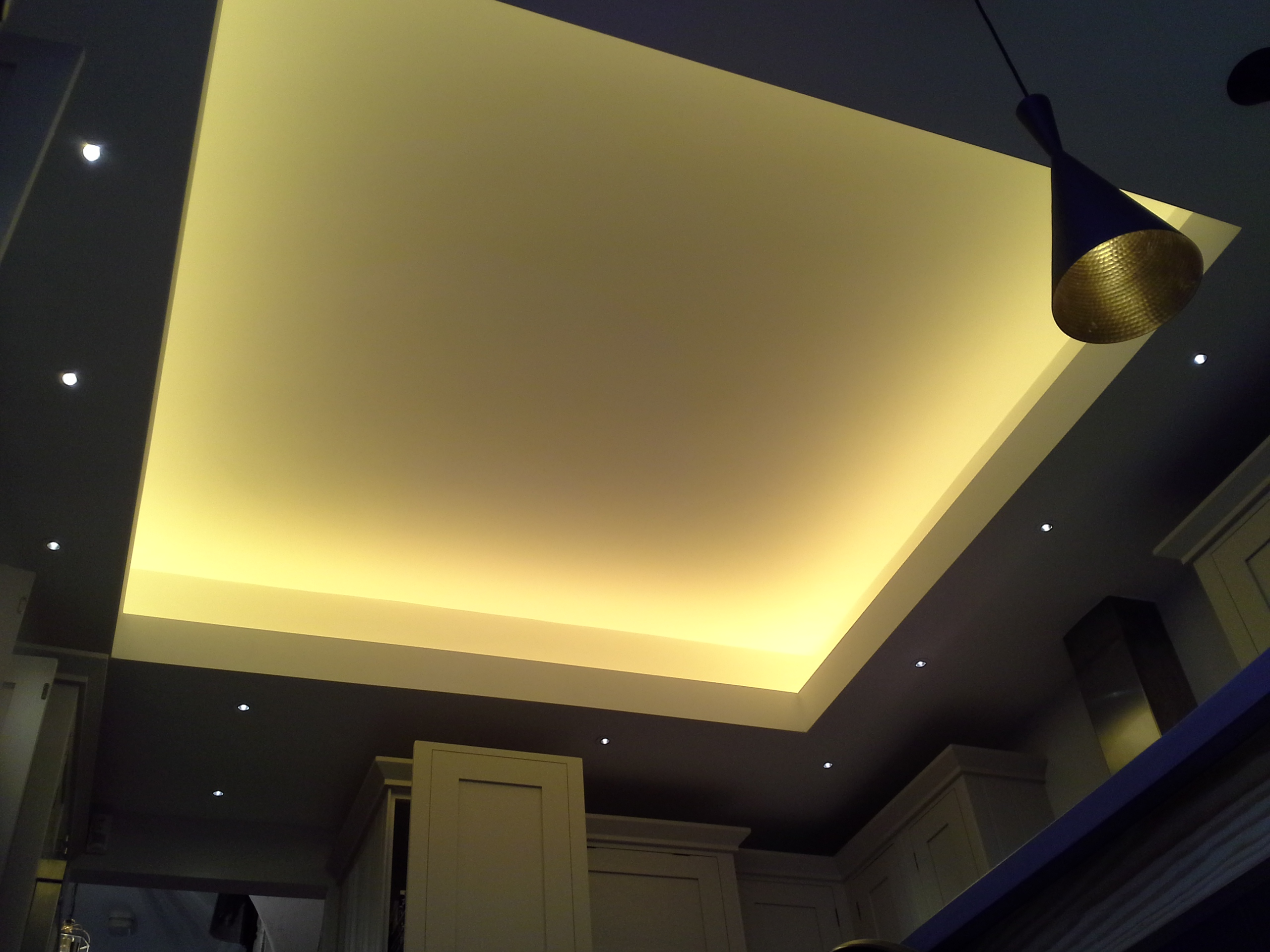 Creation of a coffered ceiling and lighting