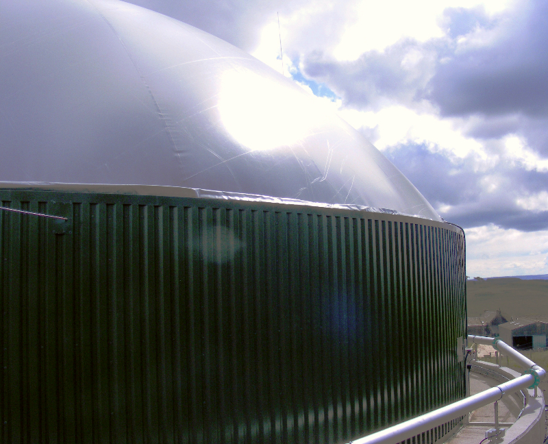 Biogas and digestate storage tank