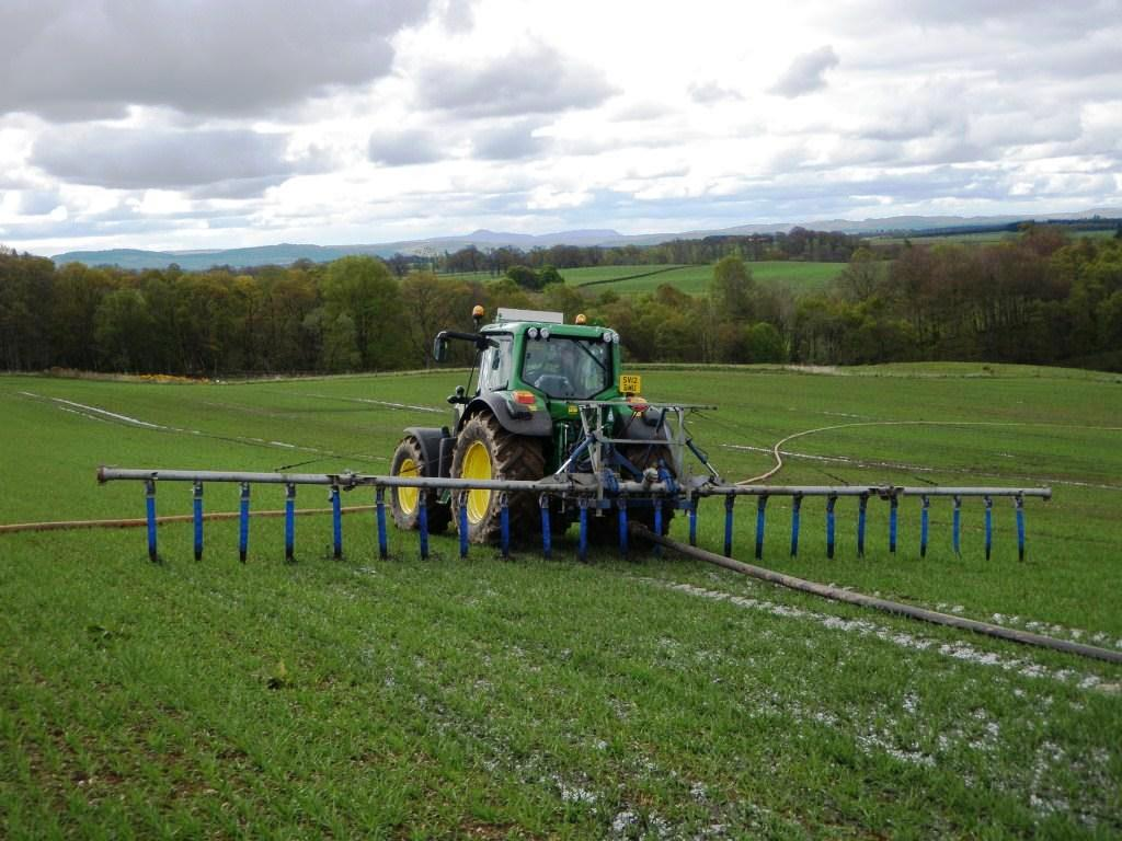 Application by trailing hose on grassland