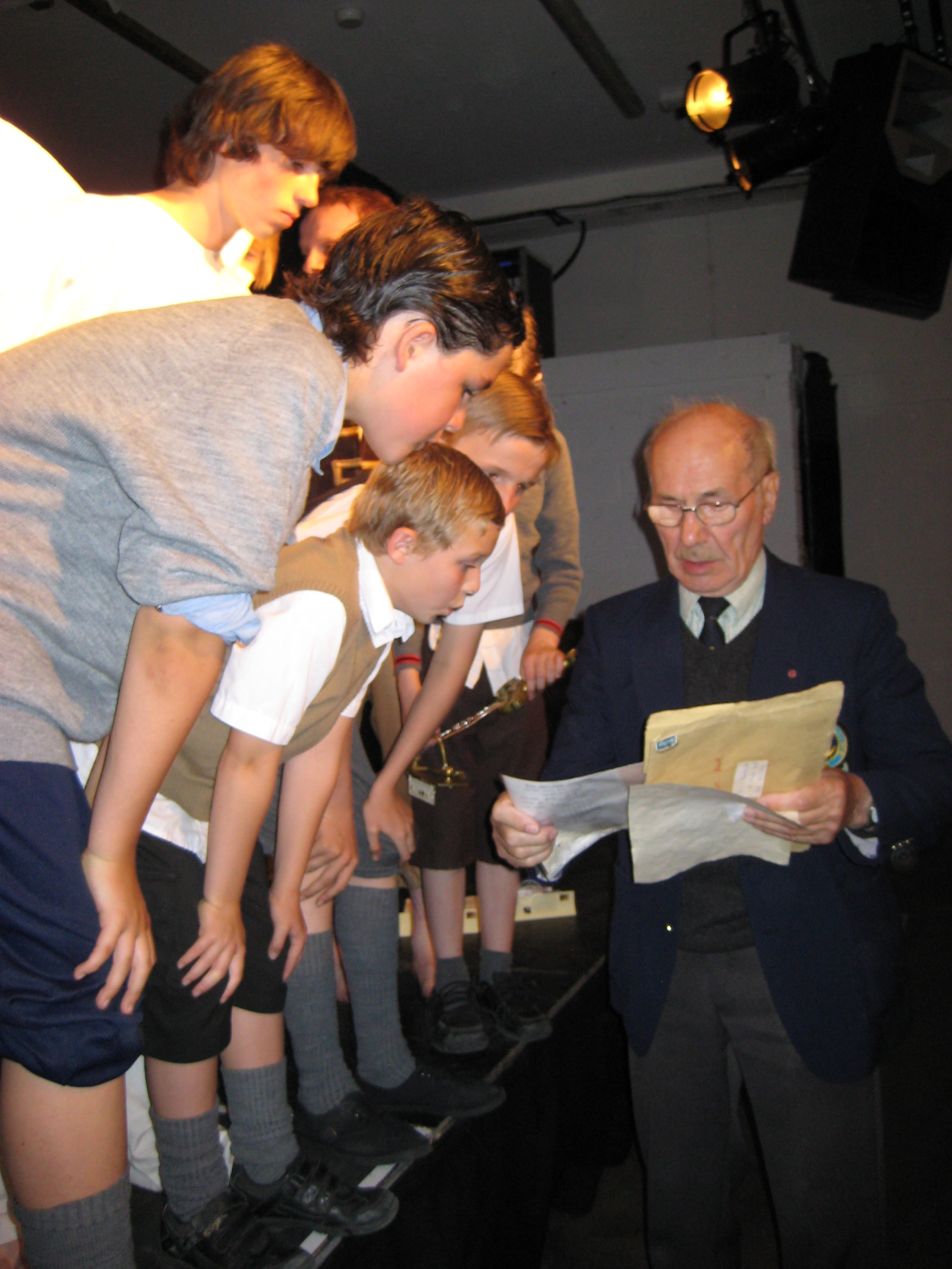 Victor Chandler, with boys in Barrie Wheatley's play of the Magic Door by Dan Billany