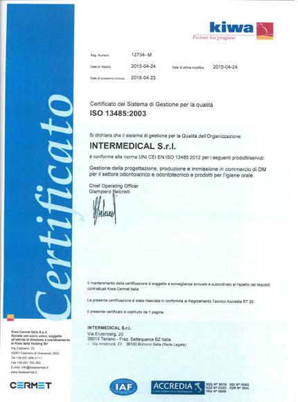 Certificato ISO 13485:2003 | Intermedical S.r.l.