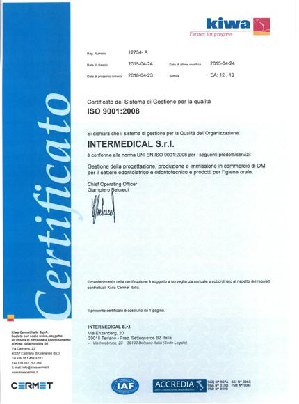 Certificato ISO 9001:2008 | Intermedical S.r.l.