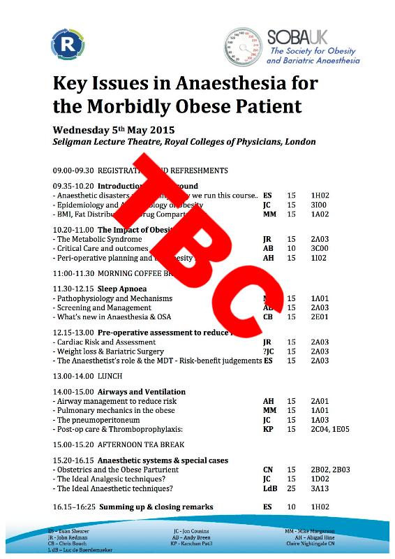 SOBA promotes Single Sheet Anaesthetic Summary | Bariatric News
