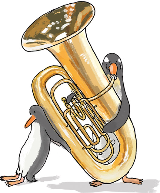 Penguins and tuba