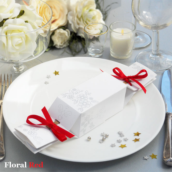 Favour Cracker floral design with red ribbons