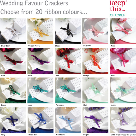 Wedding favour gift box party crackers uk choose from 20 ribbon colours to match your theme solutioingenieria Images