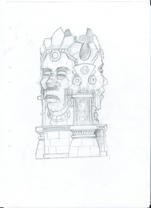 Lost City - Sketch of the sculpture three faces