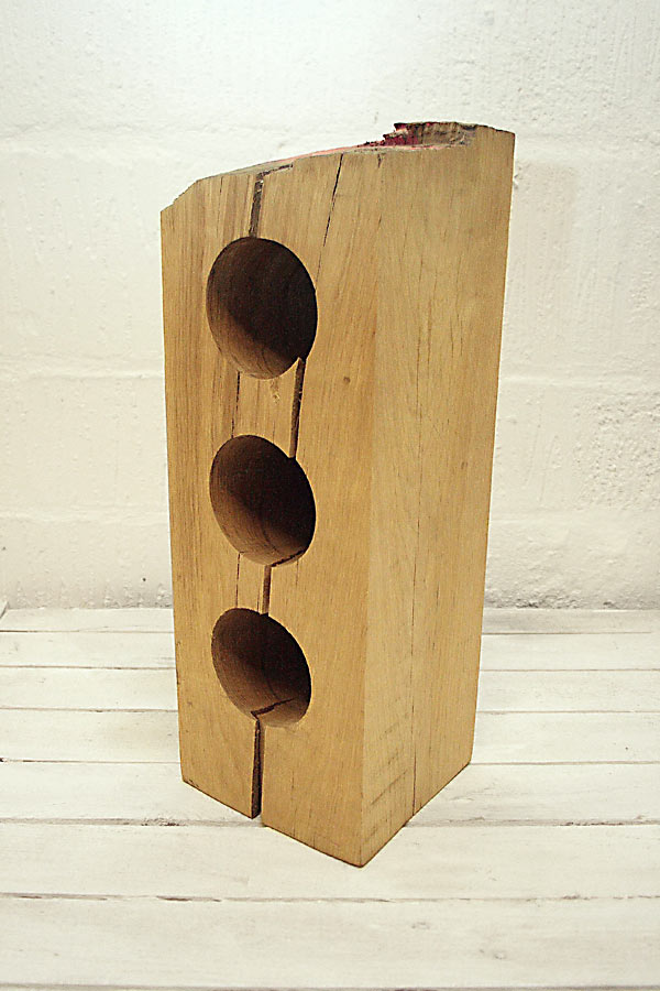 3 Hole Oak Wine Rack