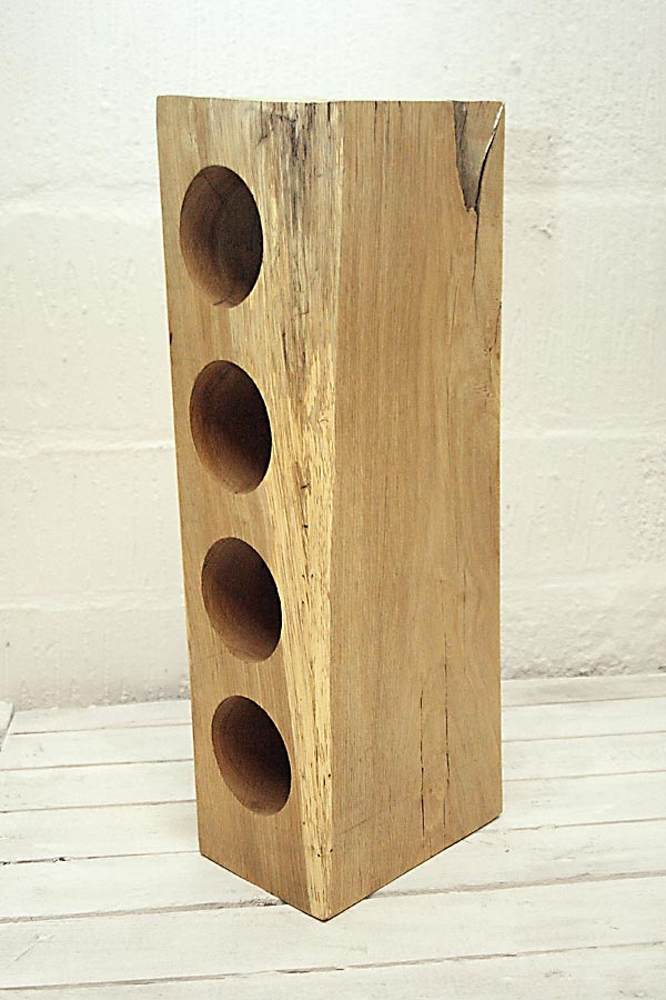 4 Hole Oak Wine Rack