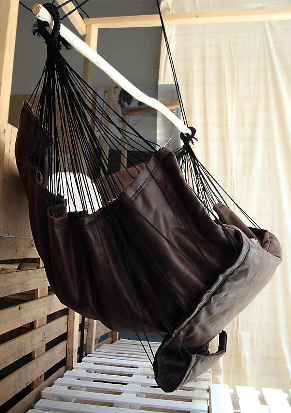 Reclining Faux Leather Hammock Chair + Wooden Hanging Trapieze