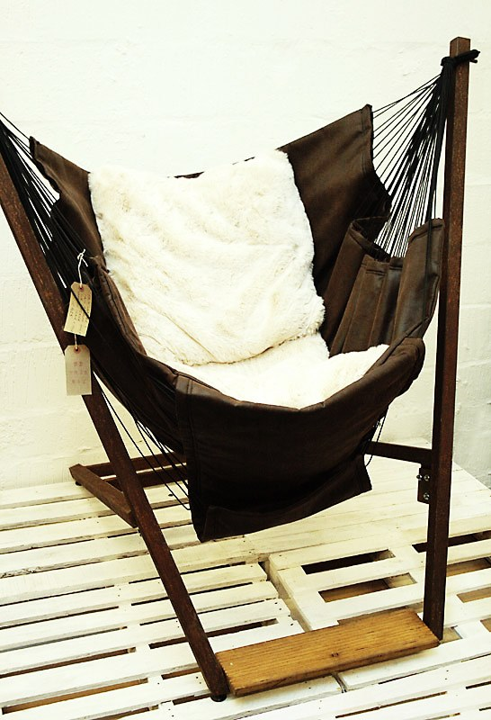 Reclining Faux Leather Hammock + Stand
