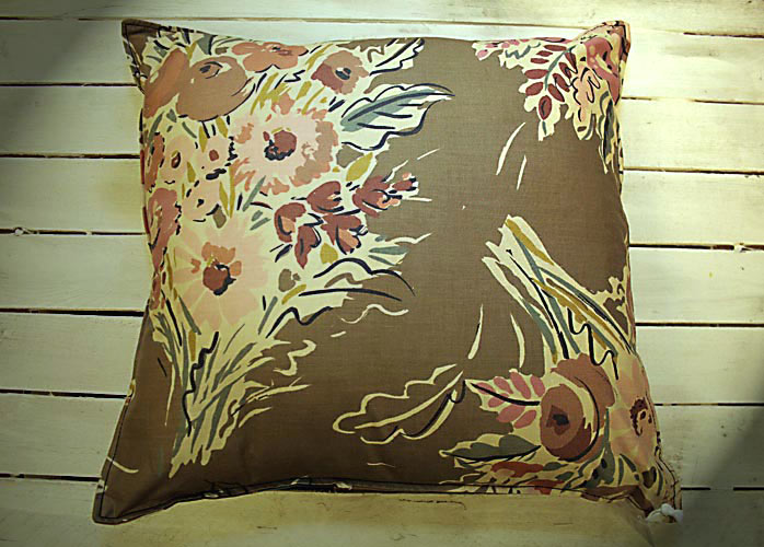 Flowers in Taupe Cushion