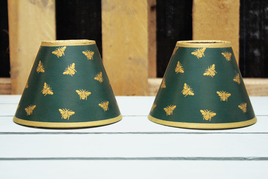 2 x Green with gold bees candle French drum lampshades