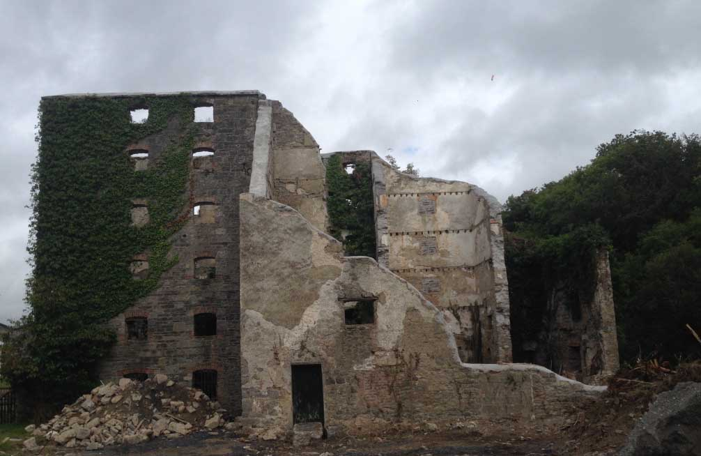 This mill was collapsing, it was decided that partial demolition was the only way to stabilise it