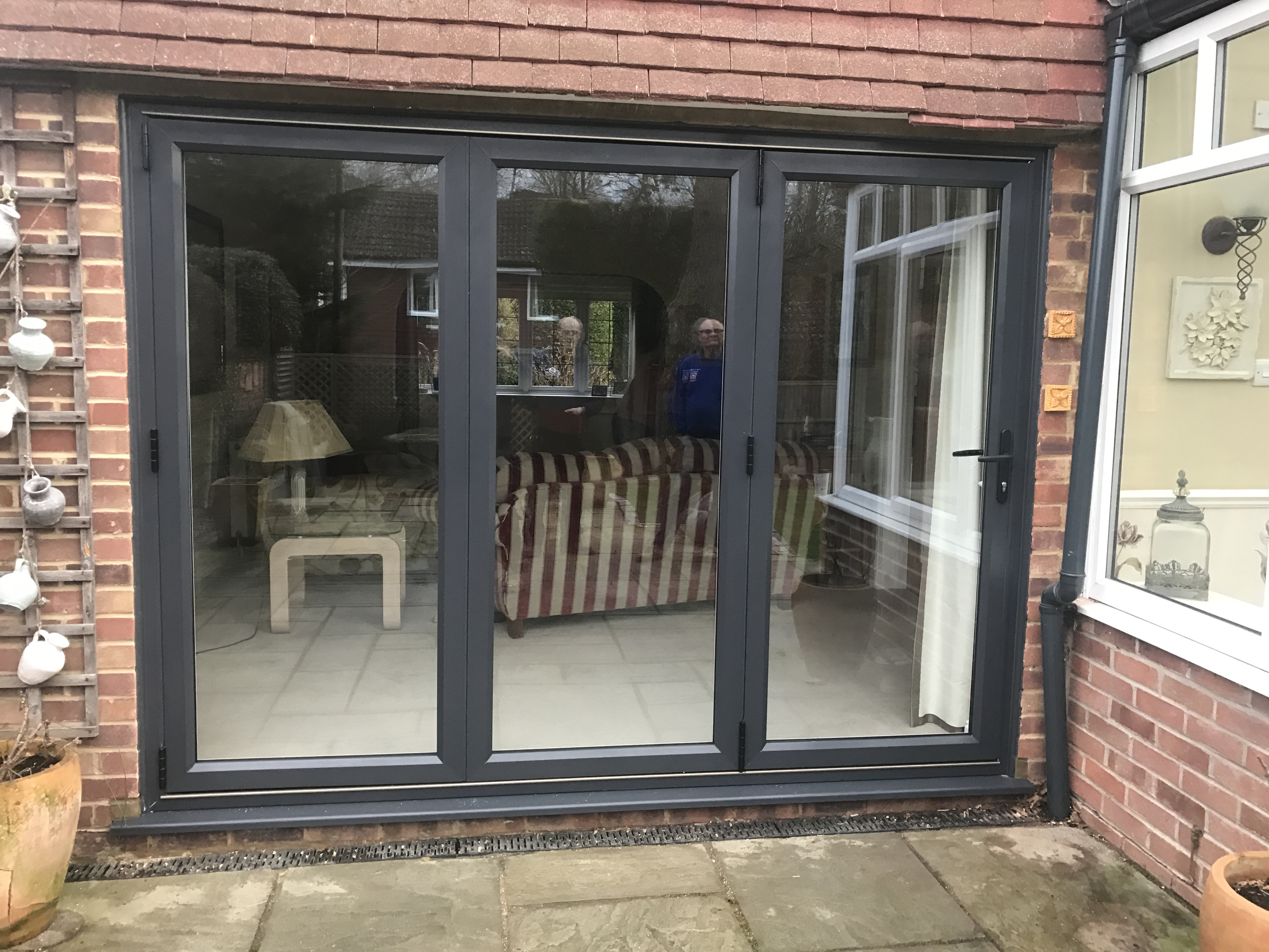 Grey Aluminium Bifolds to private house