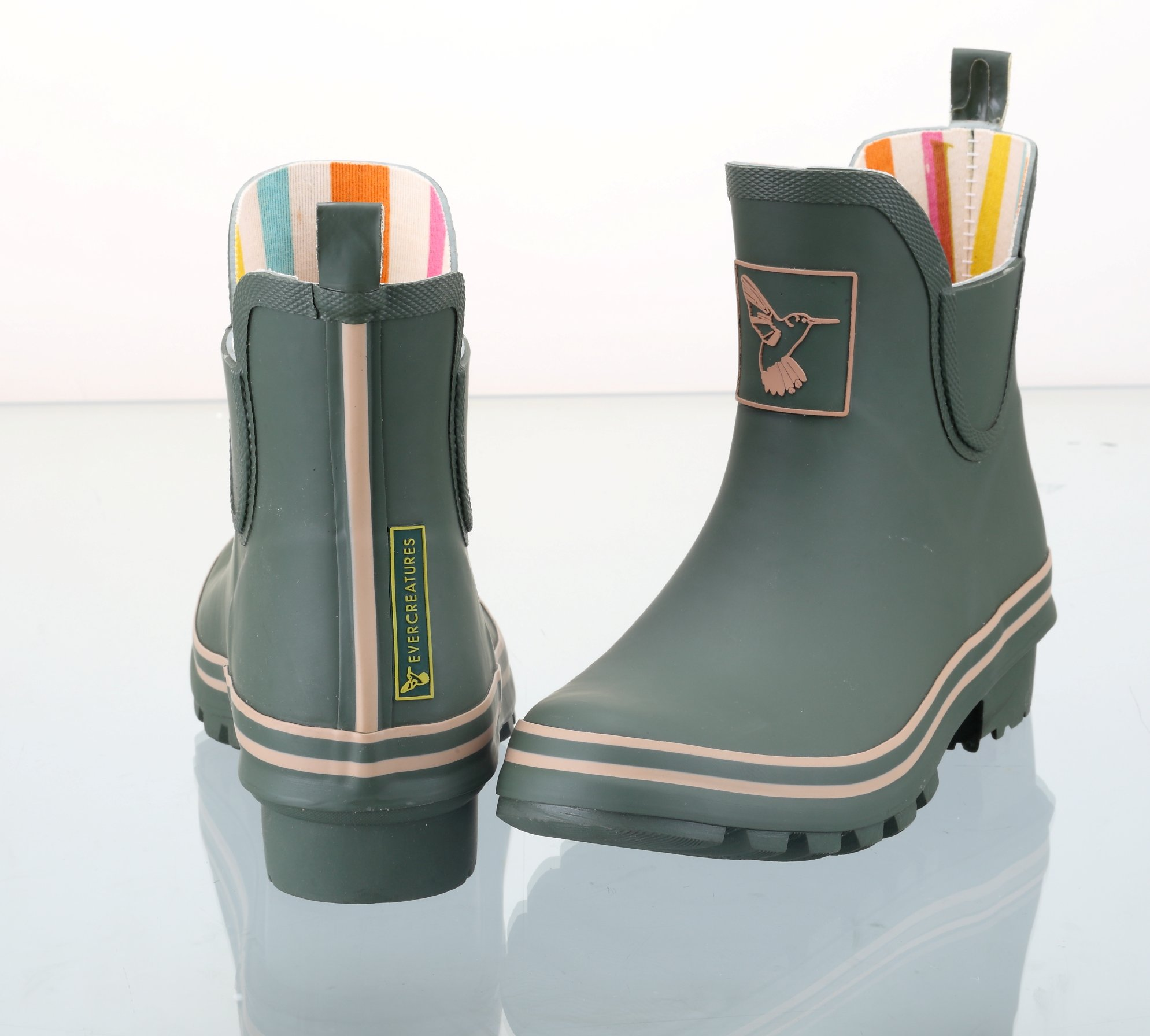 Ladies Evercreatures Green Ankle Wellies Back