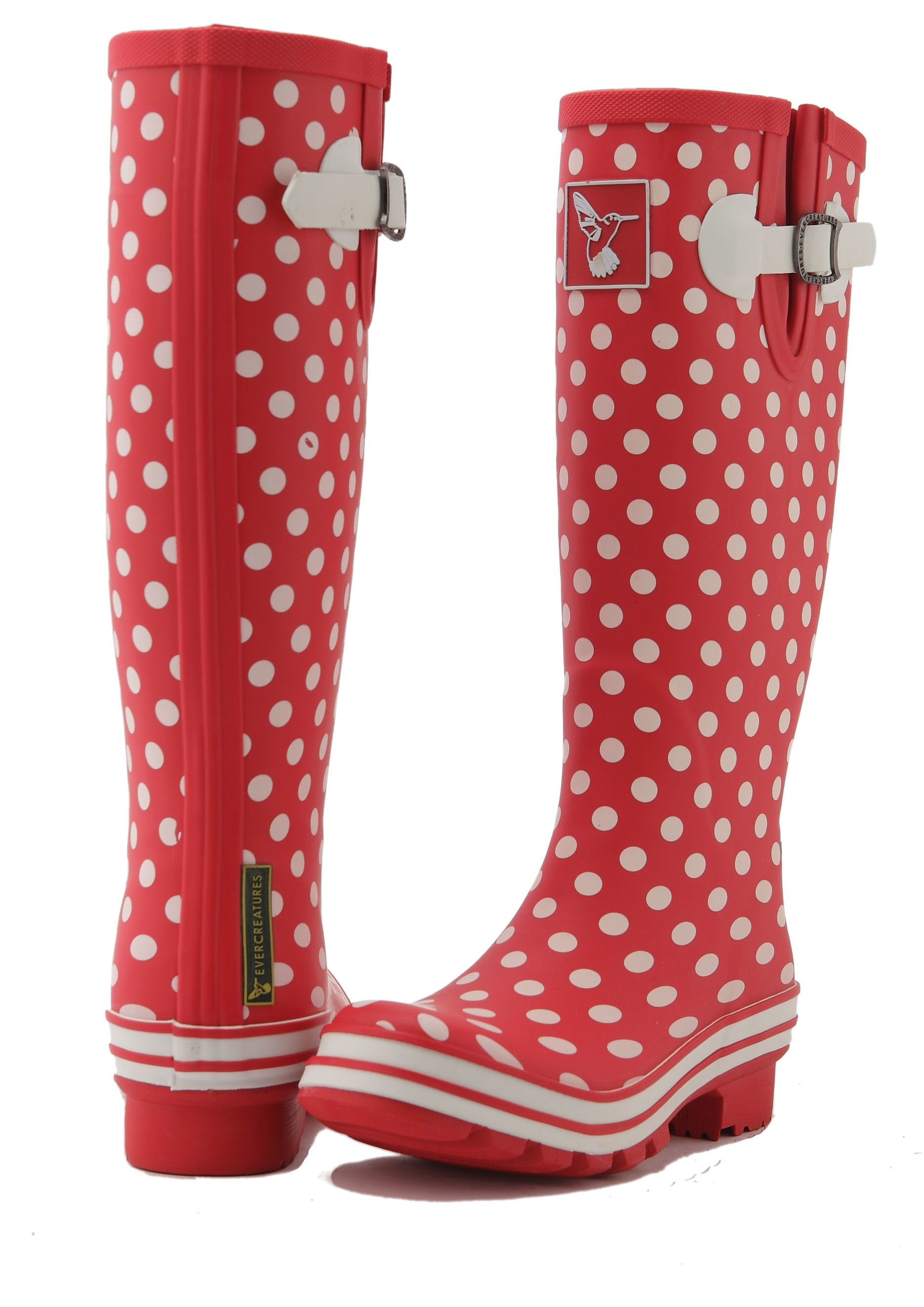Red Polka Dot Ladies Evercreatures Wellies Back