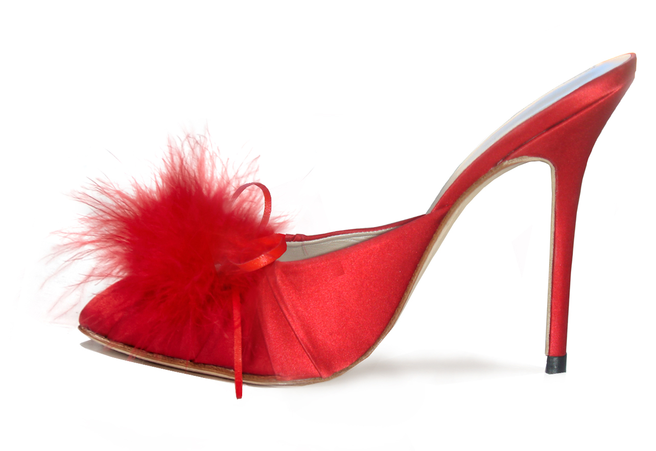 Ruby Red Evening Mule shoes