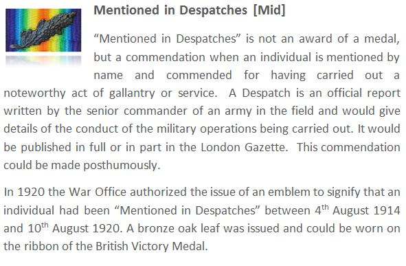 Mentioned in Despatches