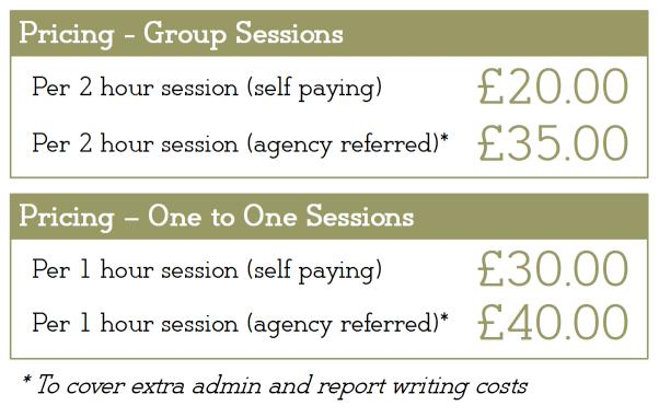Pricing: 2 hour group session (self paying); £20.00, (agency referred) £27.50; 1 hour 1-to-1 session £30.00