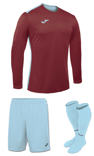 Joma Campus II LS Kit-  CLARET&SKY
