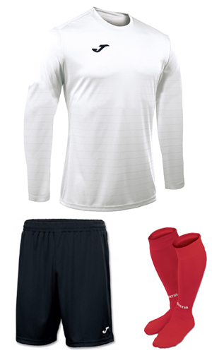 Joma Campus II LS Kit-  WHITE BLACK & RED