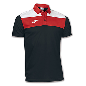 Joma Crew Polo Shirt- BLACK & RED