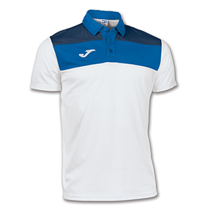 Joma Crew Polo Shirt- WHITE & BLUE