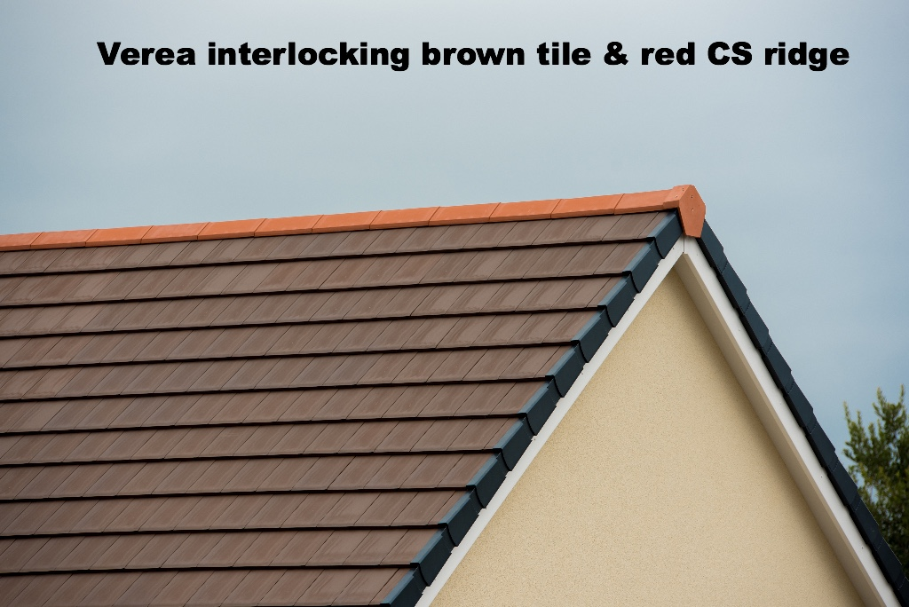 Verea brown clay roof tile with red CS ridge tiles