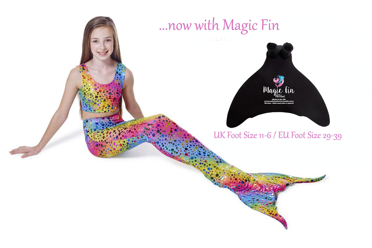 Rainbow Carnival mermaid tail from Planet Mermaid