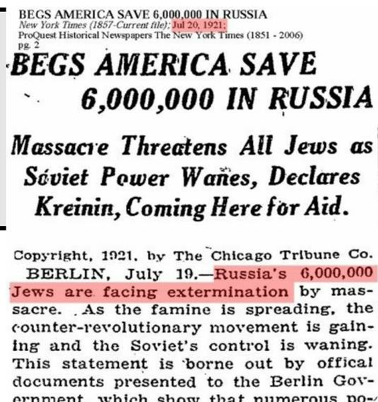 Here is another newspaper from 1919 which says 6 million Jews are in peril  in Ukraine. Again whenever the Jews feel threatened they pull this mythical  ...