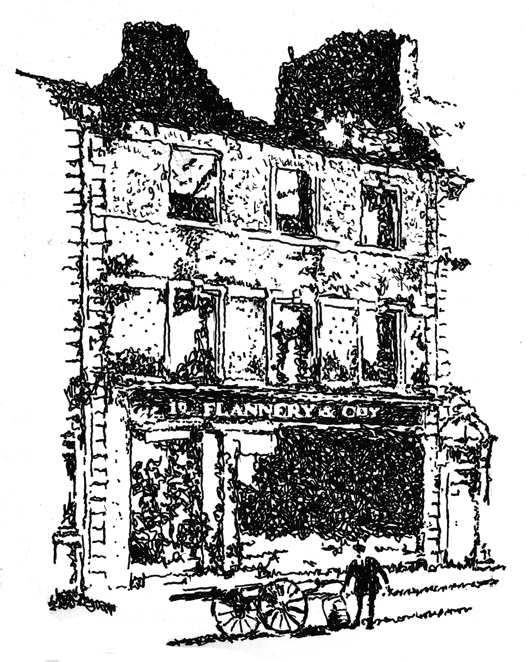 Flannery's General Store, Nenagh, was destroyed during the burning of Nenagh in November 1920.