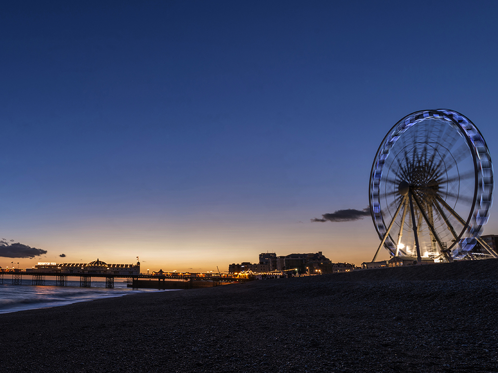Sunset over Brighton Pier & Wheel, Sussex