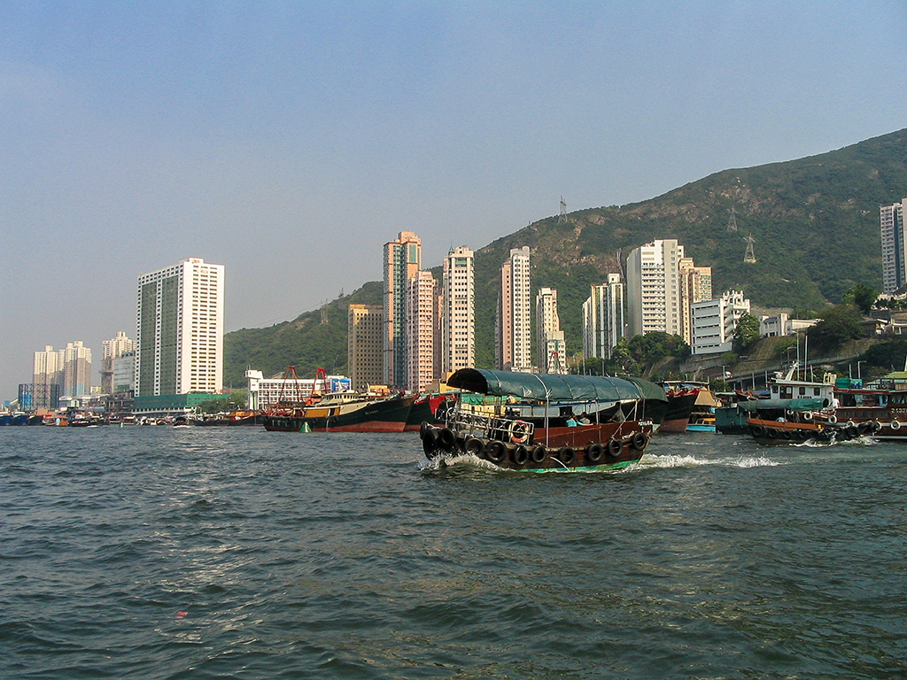 Hong Kong - Chinese Junk crossing Victoria Harbour