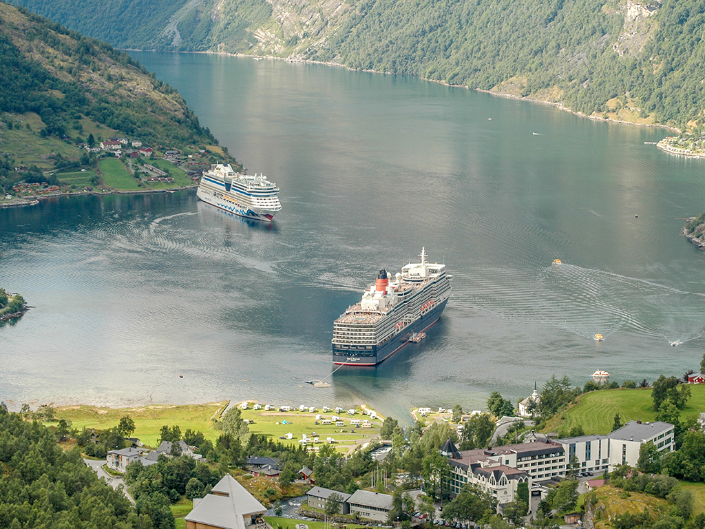Cunard Queen Victoria at anchor Geiranger, Norway