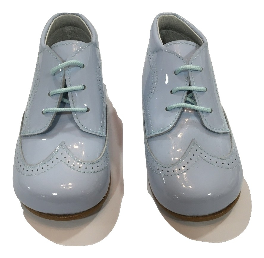 Pretty Originals pale blue patent boys shoes