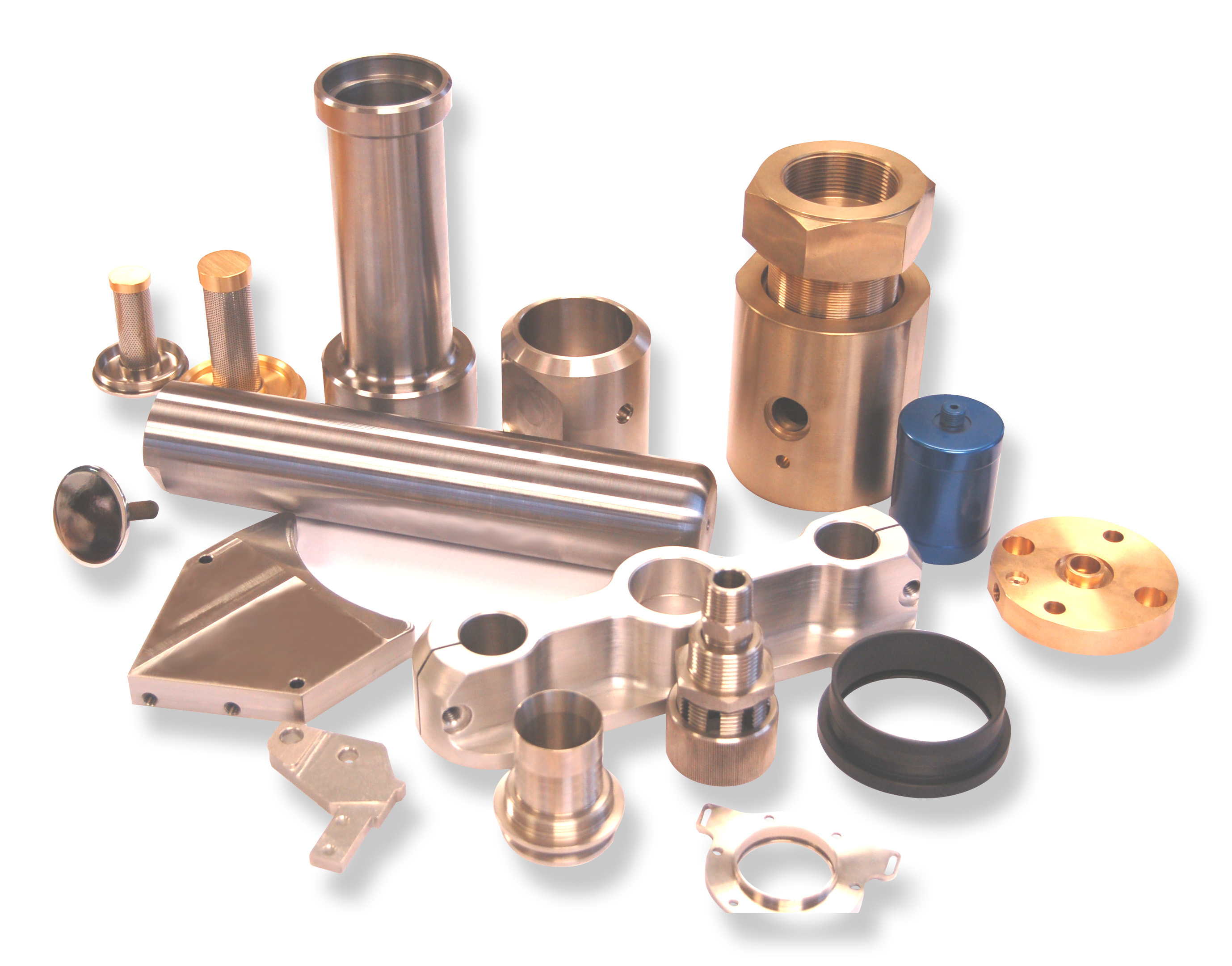 A selection of turned, milled and drilled parts