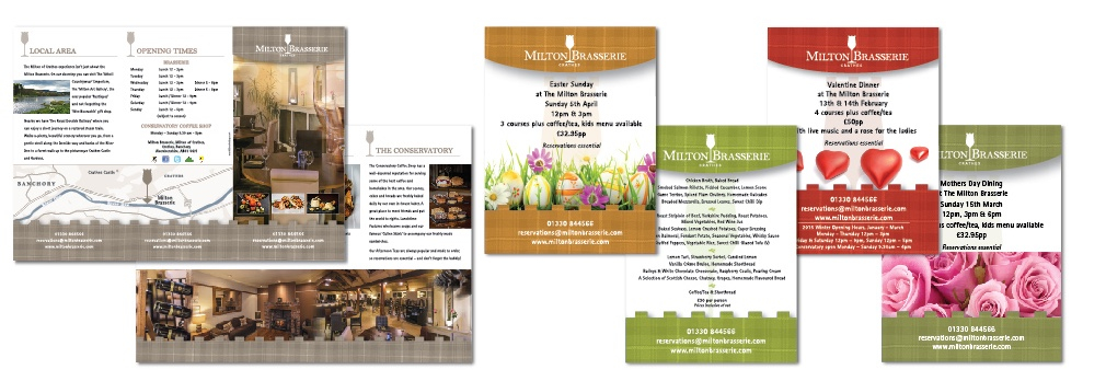 Milton of Crathes Brasserie brochure and ads